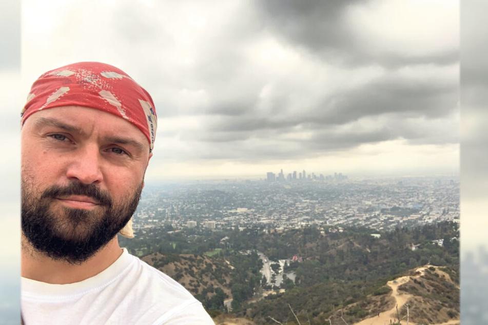 Selfie über Los Angeles: der Adorfer Graffitikünstler Nico Roth (35).