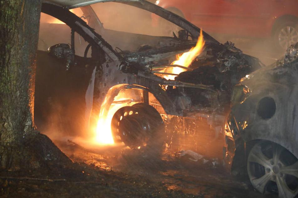 Die Autos brannten komplett aus.