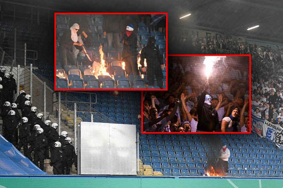 Es brannte Pyro, Stühle, Fahnen und Banner - Die Ultras aus beiden Lagern schenkten sich nichts. (Bildmontage)