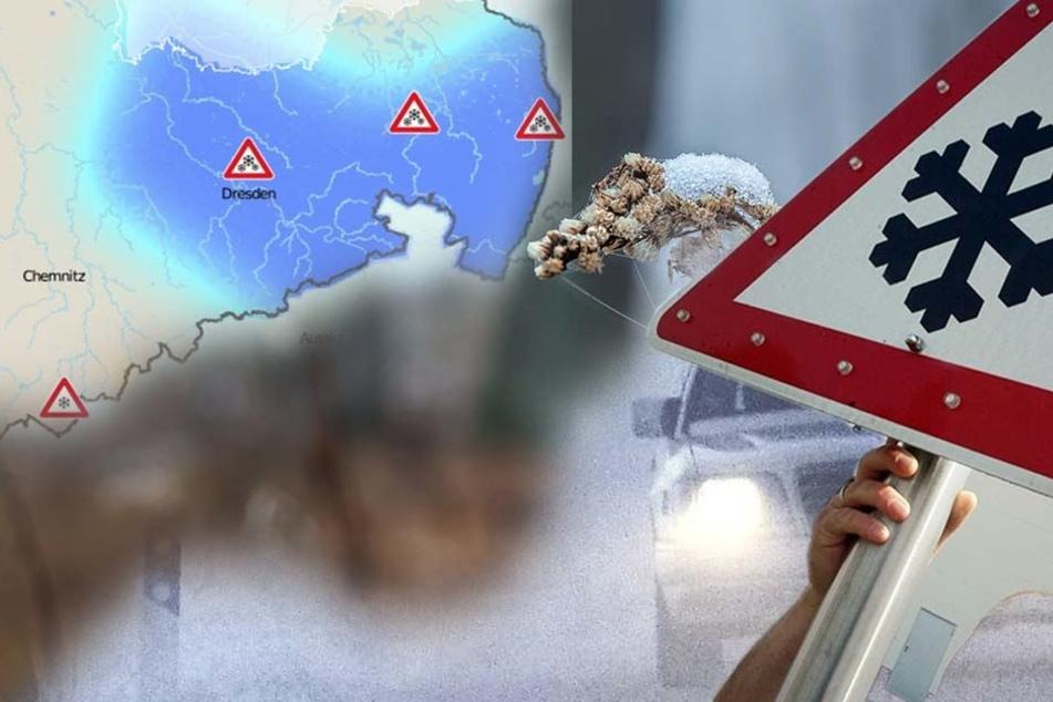 In Sachsen wird es am Mittwoch bitterkalt. In vielen Regionen herrscht große Glatteis-Gefahr.