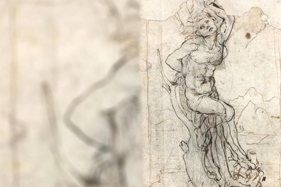 Die Zeichnung von Sebastian am Baum soll von Leonardo da Vinci stammen.