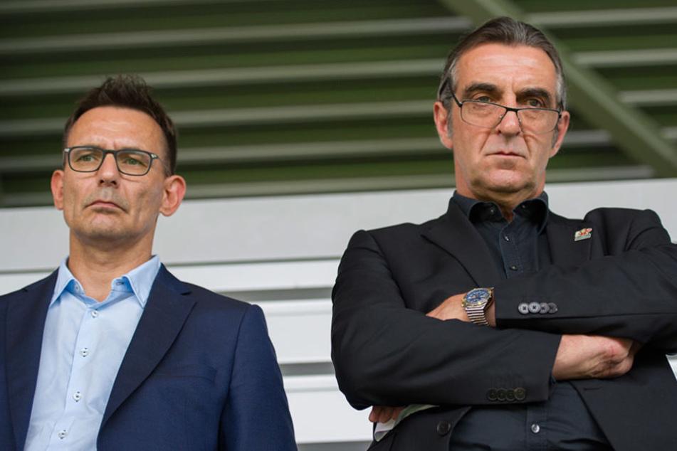 Stecken eigentlich mitten in den Planungen für die neue Saison: Dynamos Geschäftsführer Michael Born (l.)  und Ralf Minge.