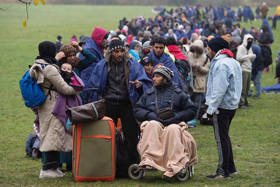 Flüchtlinge warten nahe Wegscheid an der deutsch-österreichischen Grenze.