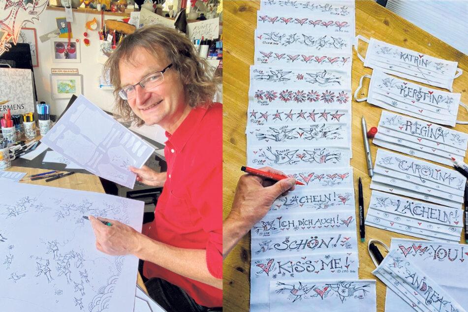 Kay Leo Leonhardt hat Erfahrungen im Gestalten von Textilien. Er entwarf schon Germens Hemden und verschönerte jetzt Mundschutz.