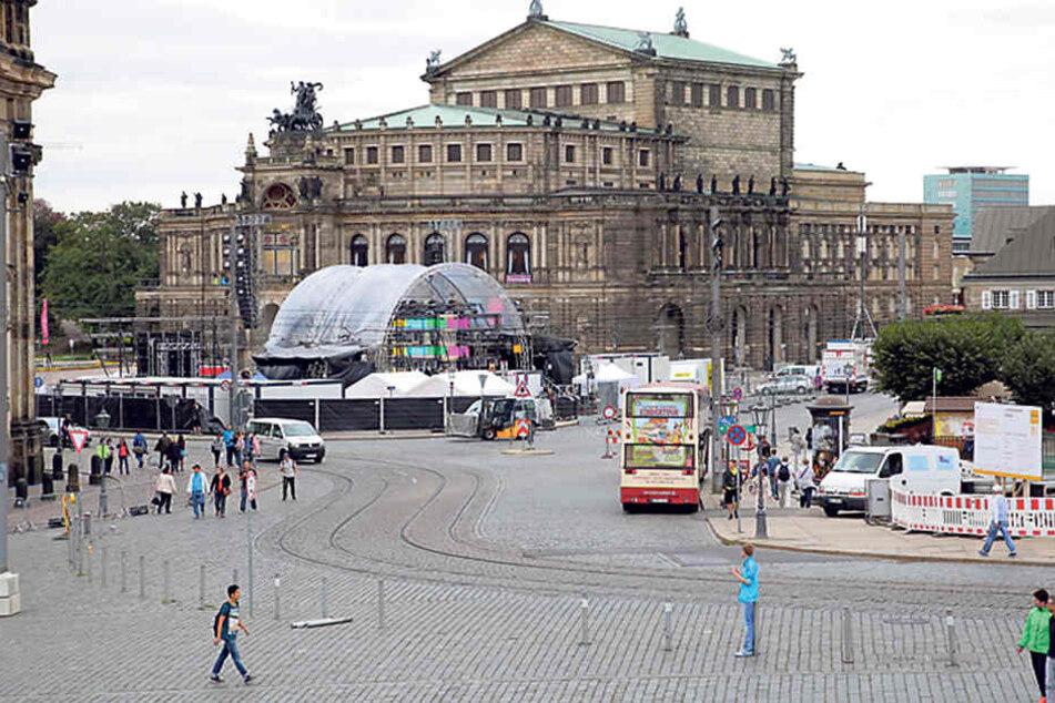 Ab Donnerstag ist rund um den Theaterplatzund den Zwinger alles gesperrt für den Autoverkehr