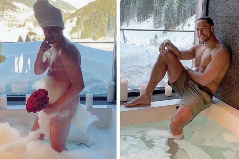 Links: Oliver Pocher in der Badewanne. Rechts: Bachelor Andrej Mangold.
