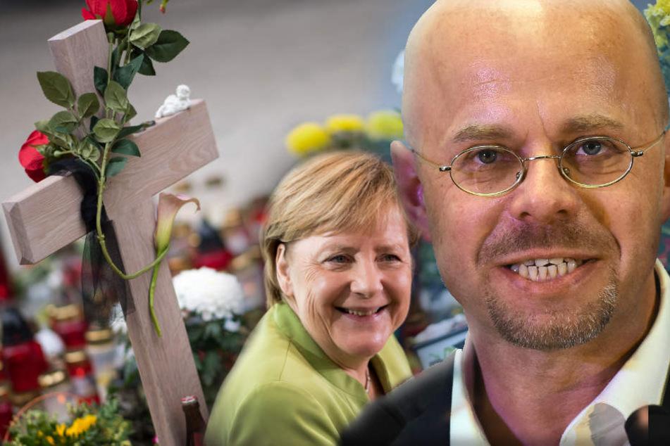 Andreas Kalbitz griff Angela Merkel aufs Schärfste an. (Bildmontage)