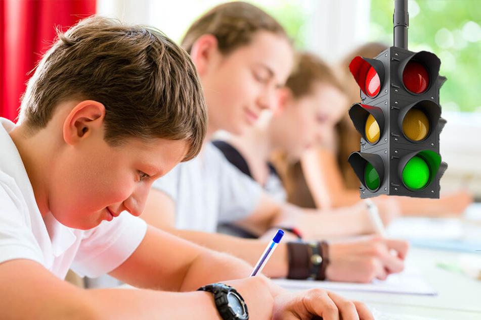 Eine Schweizer Schule setzt zukünftig auf Ampeln statt Noten. (Symbolbild)