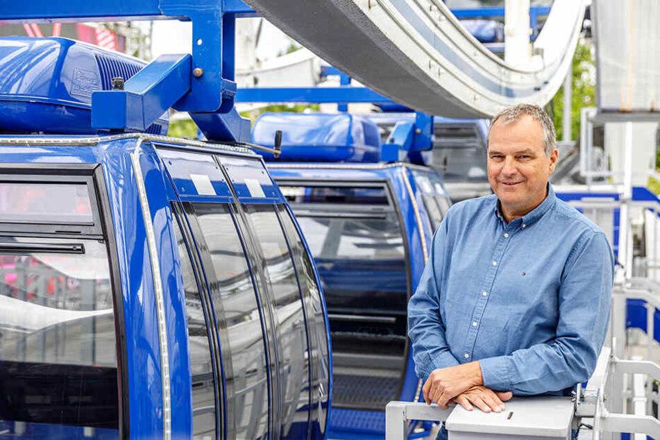 """Riesenrad-Chef Oscar Bruch (56) ist mit dem """"Wheel of Vision"""" zum ersten Mal in Dresden."""