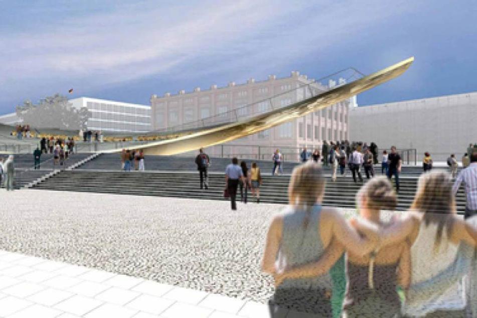 So könnte das Denkmal laut einem Entwurf aussehen.