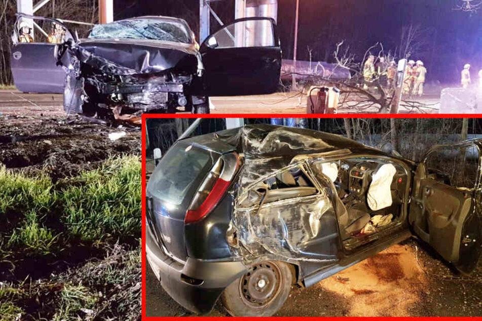 Fahrer nicht angeschnallt: Opel kracht bei Leipzig frontal gegen Baum