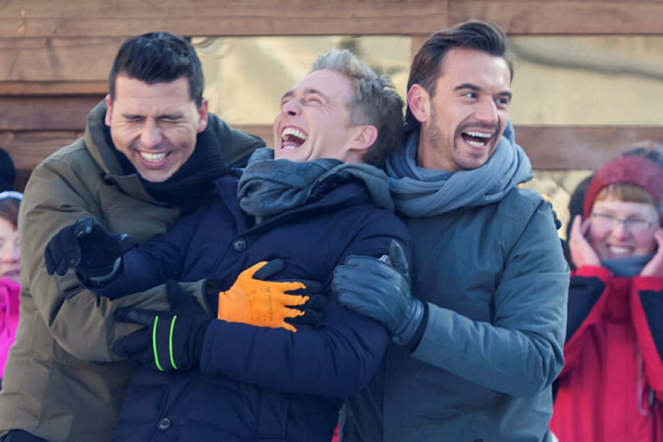 """Die drei hatten gut lachen: Florian Silbereisen (36), Jan Smit (32) und Christof de Bolle (41) alias """"Klubbb 3"""" drehten am Montag in Annaberg für den MDR."""