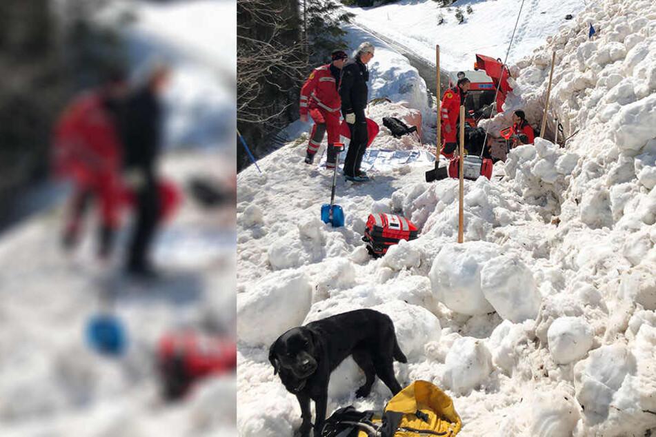Rettungskräfte konnten den Mann nach eineinhalb Stunden aus der Lawine befreien.