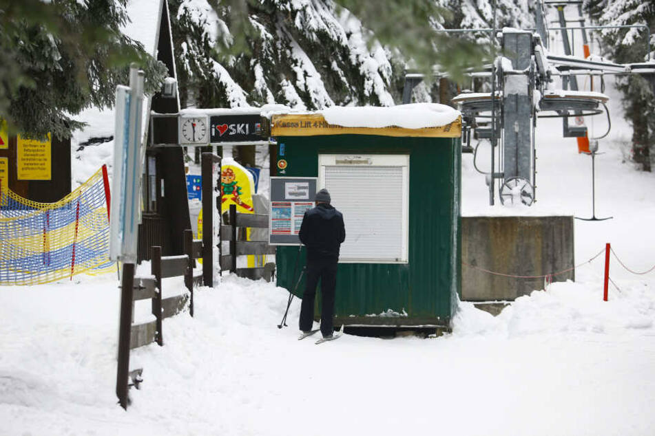 Der Schlepplift Nummer 4 am Fichtelberg steht derzeit still.
