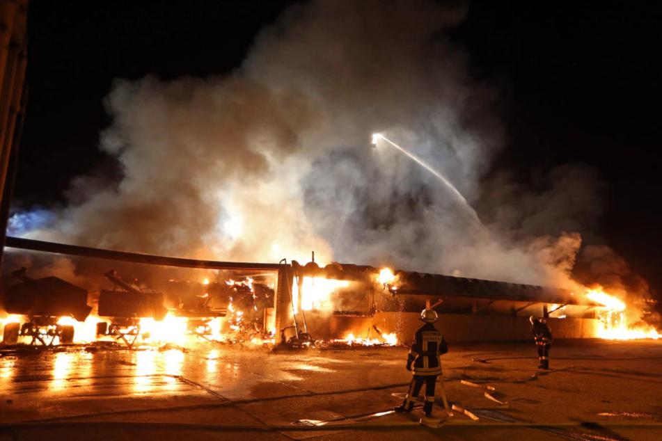 Die Halle stand komplett in Flammen.