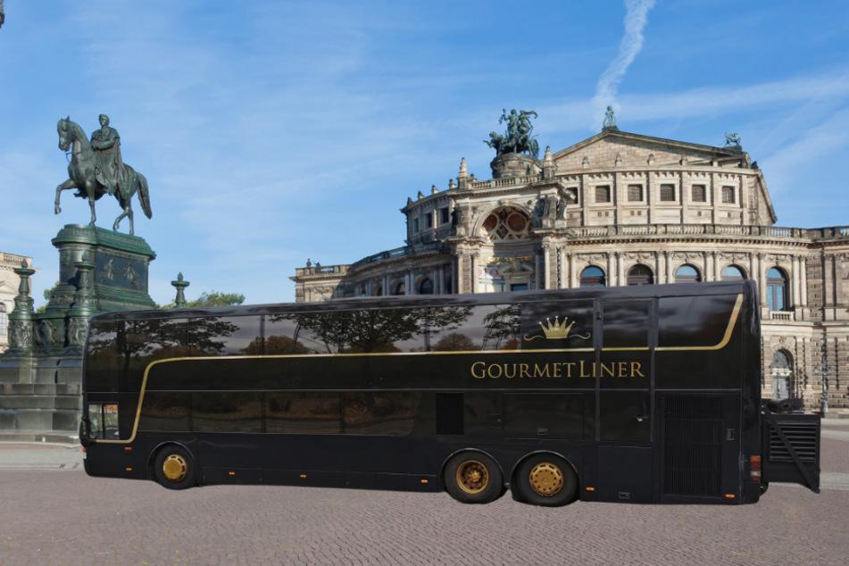 """Exklusives Dinner """"on the road"""": Der neue """"GourmetLiner""""-Restaurantbus soll demnächst durch Dresden rollen."""