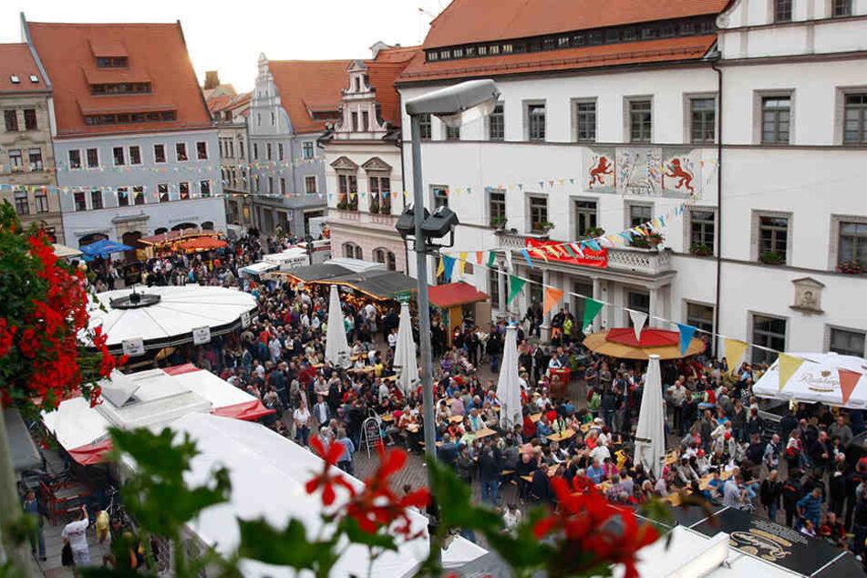 Das Stadtfest auf dem Pirnaer Marktplatz.