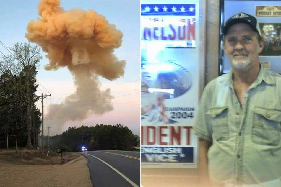 Eine gigantische Rauchwolke steigt über der Stelle der Explosion auf, der Trucker (re.) hatte vermutlich vielen Menschen das Leben gerettet.