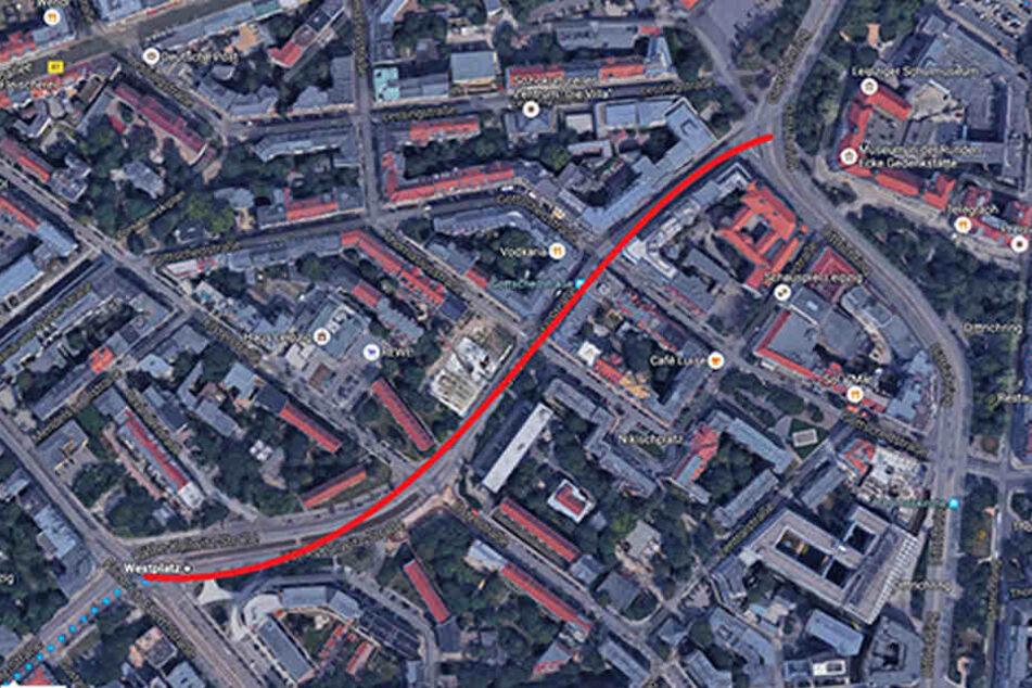 Die Käthe-Kollwitz-Straße ist ab heute vom Westplatz bis zum Dittrichring voll gesperrt.