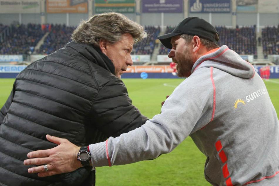 Vor dem Spiel begrüßten sich der DSC-Trainer Jeff Saibene (l.) und der SCP-Coach Steffen Baumgart sehr freundlich.