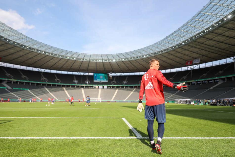 Bayerns Torwart Manuel Neuer beim Abschlusstraining vor dem Finale in Berlin.