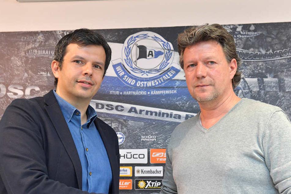 Geschäftsführer Samir Arabi (li.) und Cheftrainer Jeff Saibene planen den Kader für die neue Saison.