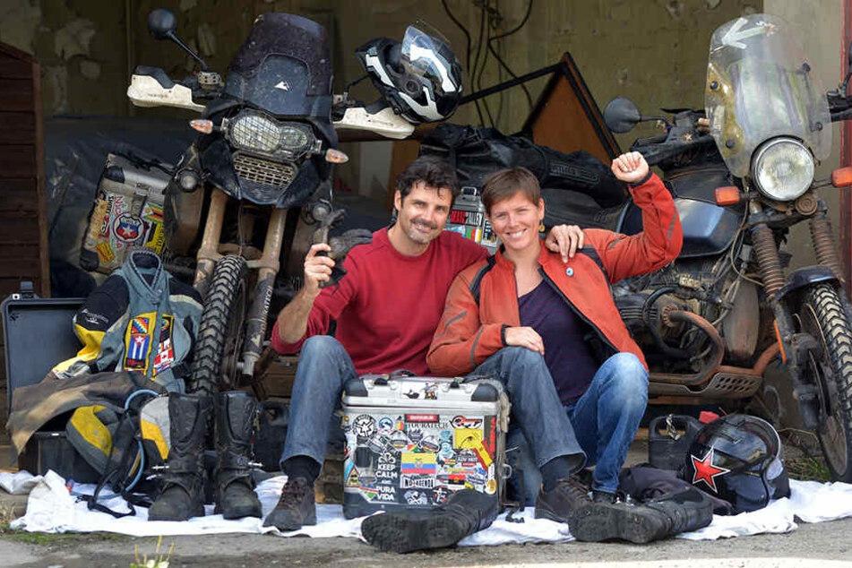 Nach drei Jahren zurück in Dresden: Daniel Rintz (39) und Josephine Flohr (36) können endlich auspacken und müssen nicht mehr aus Taschen leben.