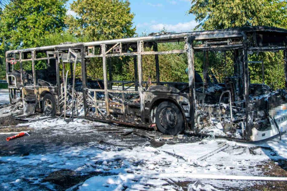 Der Bus brannte mitten auf der Landstraße komplett aus.