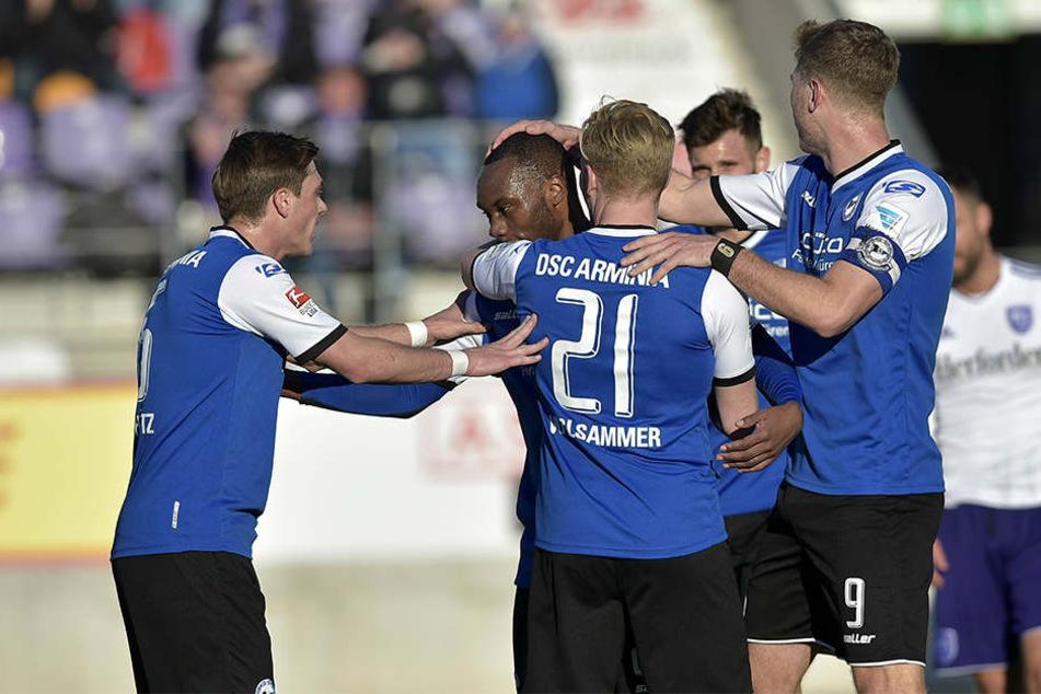 So wie im Testspiel gegen den VfL Osnabrück will Arminia in der Rückrunde wieder häufiger jubeln.