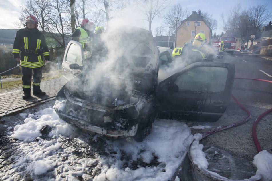 Am Renault entstand durch das Feuer Totalschaden.