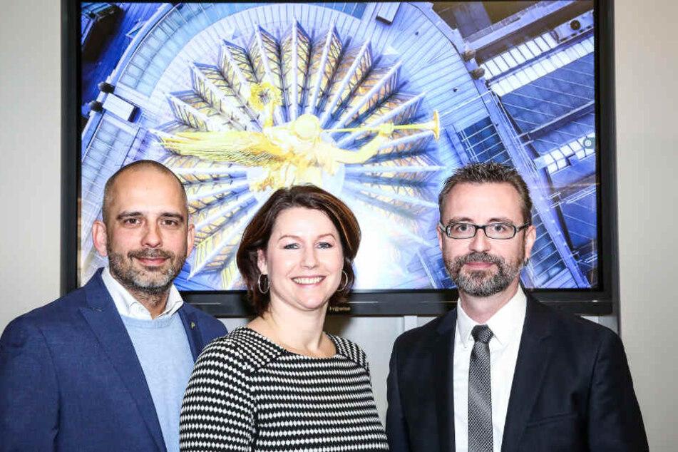 Marco Blüthgen (45), Ina Duckstein (40) und Jürgen Amann (47) von der DMG haben Montag das neue Marketingkonzept für Dresden und das Elbland vorgestellt.