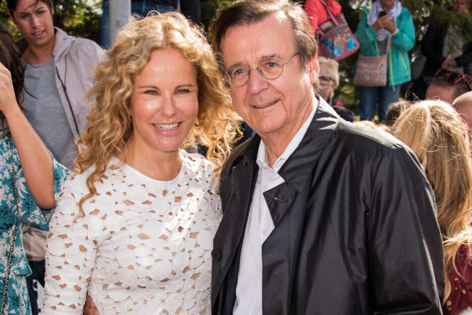 Katja Burkard (54), Fernsehmoderatorin, und ihr Lebenspartner Hans Mahr (70).