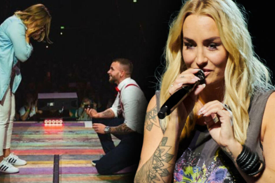 Lisa ist sichtlich ergriffen, Louis kniet für seinen Antrag während des Konzerts von Sarah (r.). (Fotomontage)