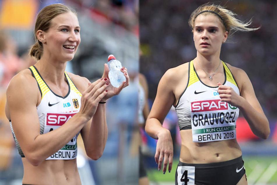 Die Siebenkämpferinnen Mareike Arndt (26, li.) und Louisa Grauvogel (21) konnten zum abschließenden 800 Meter Lauf nicht mehr antreten.