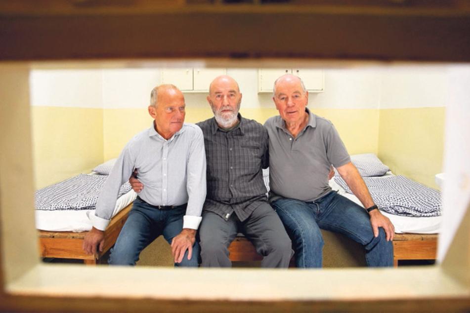 Das Blaue Wunder brauchte sie in den Knast: Klaus Schumann (alle 74, v.l.), Eberhard Haaser und Lutz Kandler.