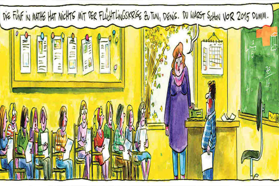 """Mit der Karikatur """"Flüchtlingskrise"""" gewann der Künstler Olaf Schwarzbach den erstmals ausgelobten Heinrich-Zille-Karikaturen-Preis."""