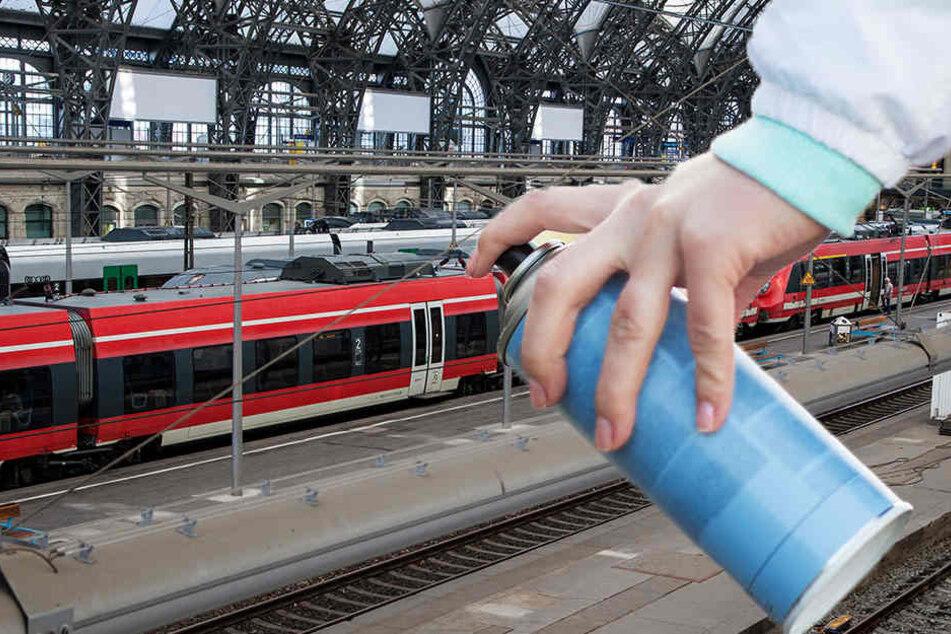Graffiti-Sprayer besprühten am Dresdner Hauptbahnhof einen Waggon und flüchteten dann.