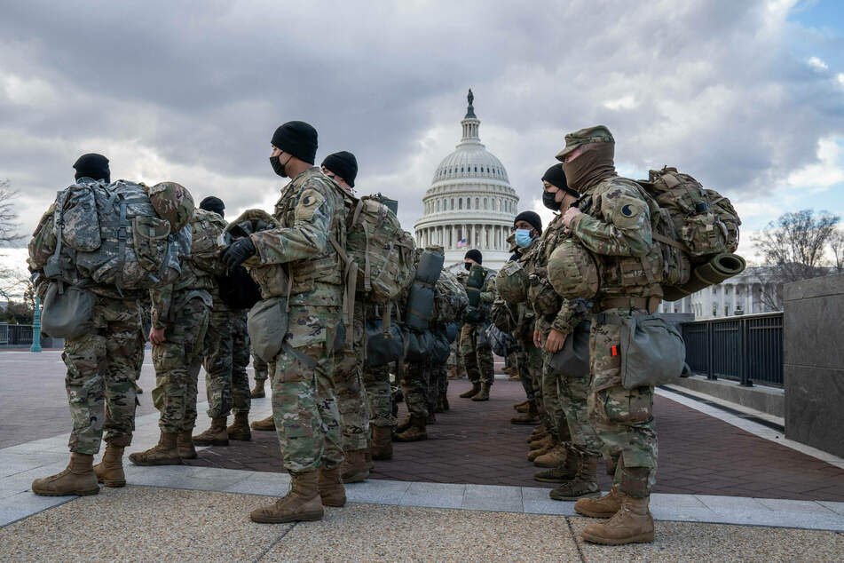 National Guard troops patrol the US Capitol ahead of Inauguration Day.