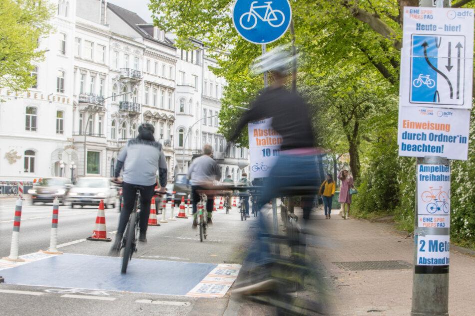 Pop-up-Bike-Lane: Fahrrad-Club startet Protest-Aktion an der Alster