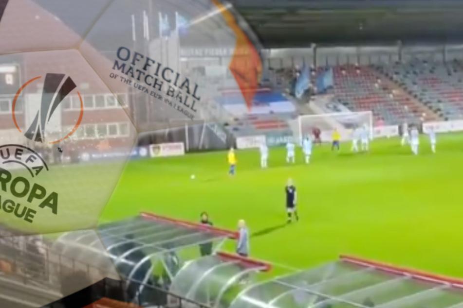 Verrückter Spielabbruch in Europa-League-Quali: Plötzlich regnete es Scherben!