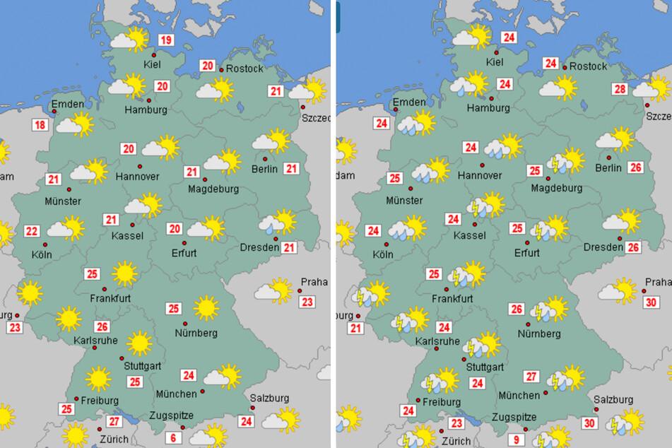 Die neue Woche startet weitgehend trocken, wie die Grafik (l.) für Montag zeigt. Am Sonntag (r.) werden vielerorts Gewitter und Regen erwartet.