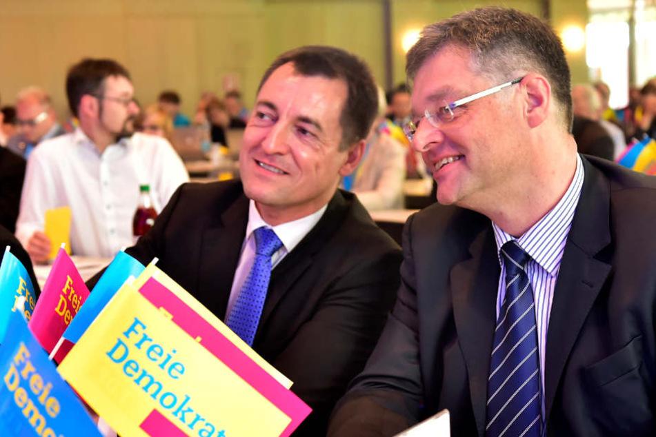Holger Zastrow (48, hier mit  Generalsekretär Torsten Herbst, 43) beim Landesparteitag der sächsischen FDP in der Sachsenlandhalle Glauchau. Zastrow erhielt nur 52,9 Prozent.