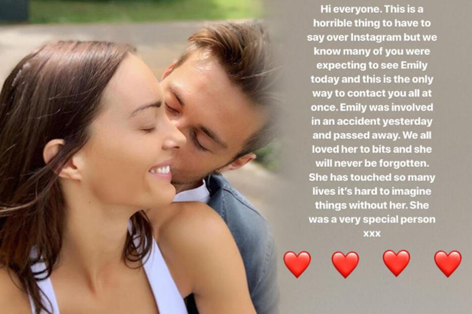 Emily Hartridge (†35) und ihr Freund. Mit dem Post (rechts) auf Instagram verkündete ihre Familie den tragischen Unfalltod des YouTube-Stars.