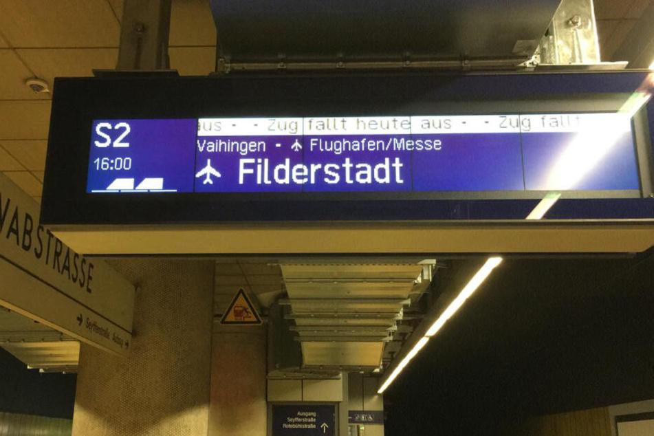 Betroffen waren die Linien S2 und S3 Richtung Filderstadt, respektive Flughafen/Messe.