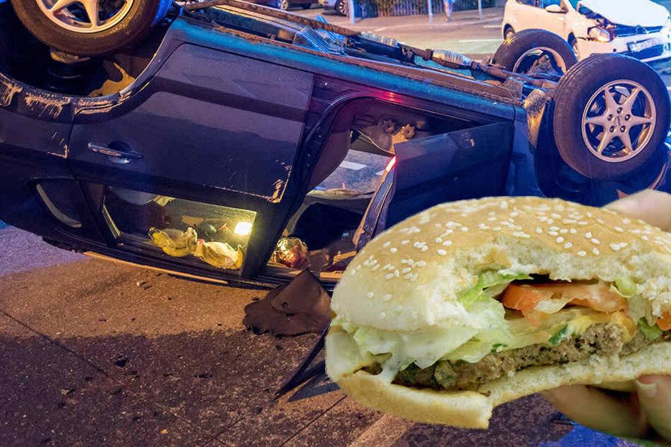 Beim Bücken nach dem Fastfood verriss ein Fahrer das Lenkrad.