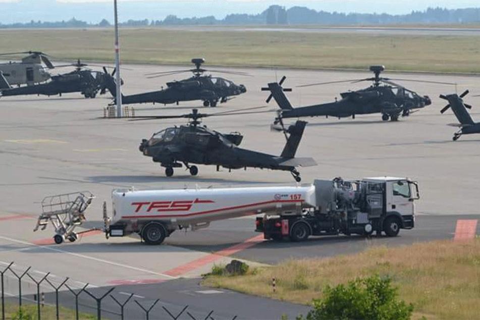Auf dem Flughafen in Dresden-Klotzsche wurden die US-Hubschrauber aufgetankt.