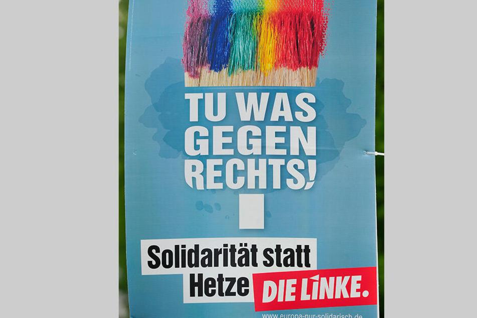 """Die Linken setzen auf Taubengrau, """"Chemnitz für alle"""" wirbt mit Regenbogen."""