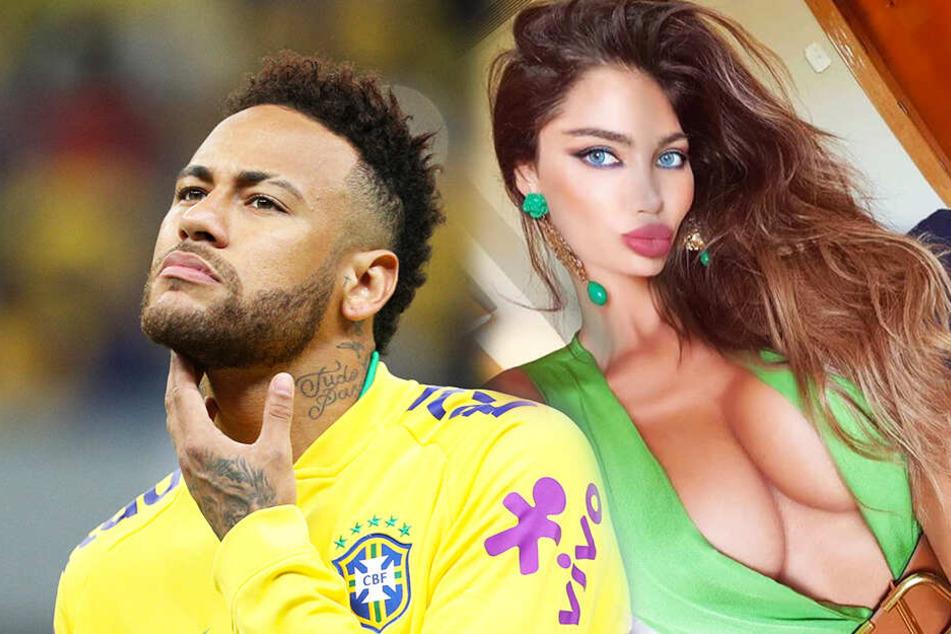 Die Ex von Fußballstar Neymar (l.), Soraja Vucelic, versenkte einen blauen Lamborghini in einem Pool. (Bildmontage)