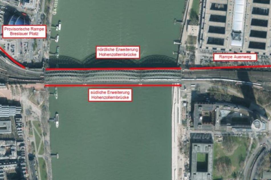 Südlich soll die neue Brücke gebaut werden, nördlich der bestehende Fuß- und Radweg verbreitert werden.