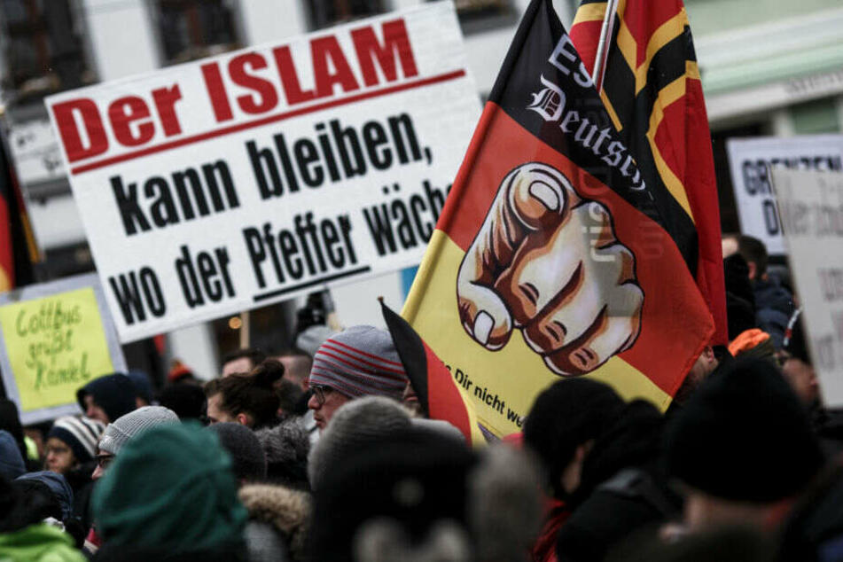 Demonstranten der rechten Szene halten in Cottbus Plakate und Fahnen hoch. (Archivbild)